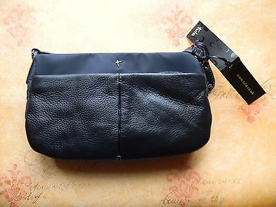 Tula Black/Navy Leather Handbag Bag 62161 RRP £40