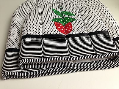 Quilted Toaster Cover + Matching Teapot Cover Black White Strawberry NEW!