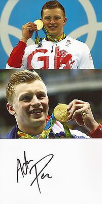 SWIMMING: ADAM PEATY SIGNED 6x4 WHITECARD+2 UNSIGNED PHOTOS+COA *RIO 2016*