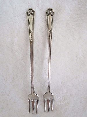 Niagra 1930 Silver Plate Flatware -GLENDALE- 2 Seafood Forks 6""