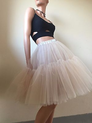 Tulle Lace Skirts Blush Beige Nude Sheer net Tutu petticoat Ruffle Hen Party M L