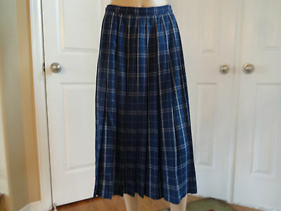 Country Sophisticates by Pendleton Pleated Skirt 10 Navy Full Length Vintage?