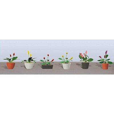 """JTT Scenery Assorted Potted Flower Plants 3, 5/8"""" Wide, O-Scale 6/pk 95570"""