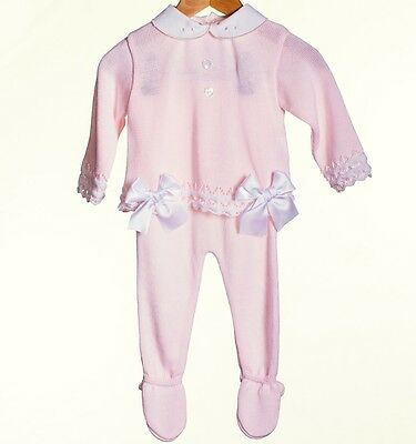 Stunning Baby 2 Piece Knitted Pink Set Romany Spanish Style Outfit by Zip Zap