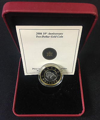 2006 Canada $2 Dollars Gold Coin - 22K Outer Ring 10th Anniversary Proof Edition