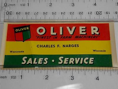 Vintage Unused 1946 Oliver Farm Tractor Equip Sticker Narges Implement Wisconsin