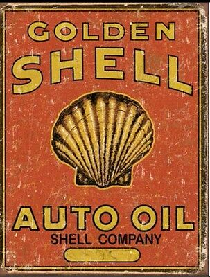 Shell Oil Metal Tin Sign Auto Golden Retro Vintage Look Gas Station Garage New