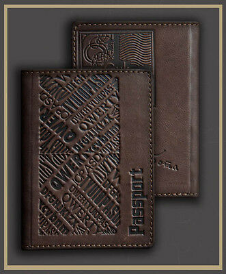 HANDMADE Genuine LEATHER PASSPORT COVER holder case BROWN flower engrawing 60