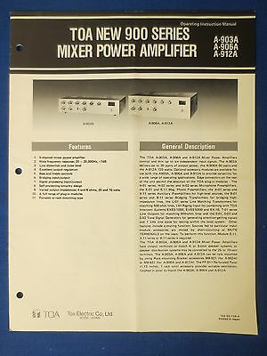 Toa A-903A A-906A A-912A Owners Operation Manual With Schematic Original