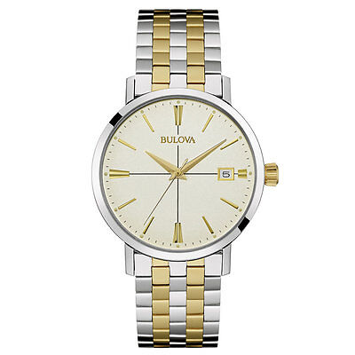 Bulova Men's 98B255 Classic Quartz Two Tone Cream Dial Bracelet 39mm Watch