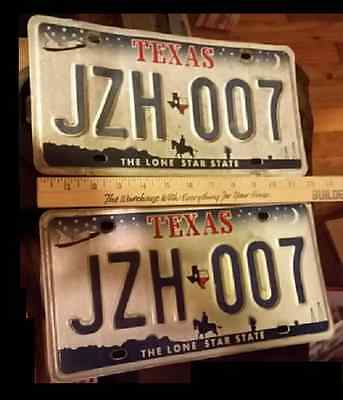 TEXAS   license plate raised letter pair  JZH 007