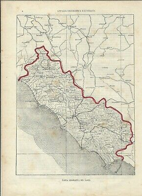 Carta geografica antica LAZIO 1891 Old antique map