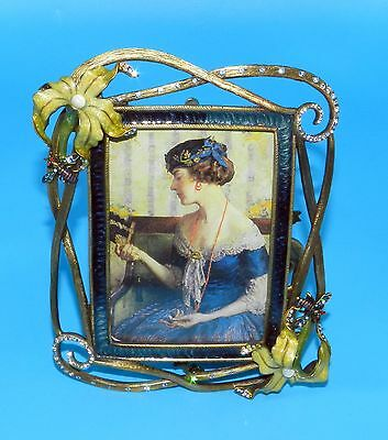 STUNNING JAY STRONGWATER Yellow ORCHID, Bees & SWAROVSKI CRYSTALS PICTURE FRAME