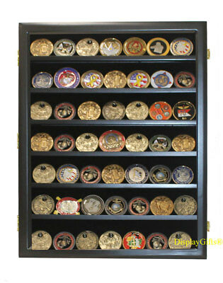 Military Challenge Coin Display Wood Case Casino Chip Frame Shadow Box Cabinet