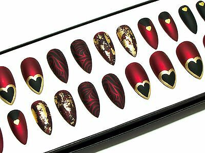 Red Black Matte False Fake Press Glue On Hand Painted Acrylic Artificial Nails