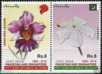 Pakistan Stamps 2016 Diplomatic Relations Joint Issue Singapore Flowers Orchids