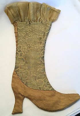 Pier 1 Imports Victorian High Heeled Gold Boot Christmas Stocking 20""