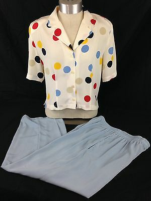 Womens Vintage Polka Dotted Shirt and Capri Pants Set by Gregor Size Small S