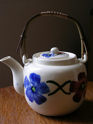 Vintage Crackle Glaze Teapot Made in Japan Floral Pattern with Wood Woven Handle