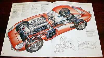Jaguar E-type - technical cutaway drawing