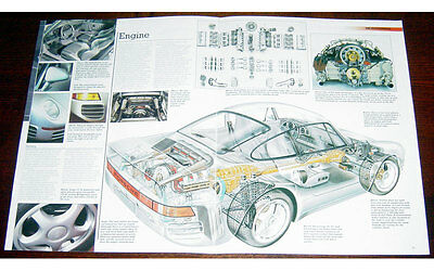 Porsche 959 Fold-out Poster + Cutaway  drawing