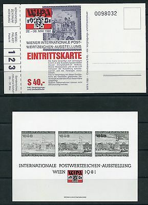 Weeda WIPA 1981 International Philatelic Exhibition unused entrance ticket set