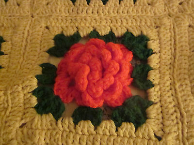 Red & green vintage crochet afghan . Christmas colors. 53 by 75