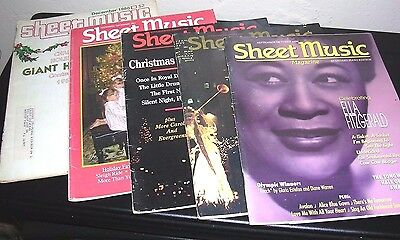 Collectible Vintage Sheet Music Magazine lot of 5 Dec/80, 91, 92, 94 & Oct/96