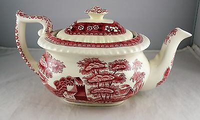 Spode China Pink Tower Individual Teapot With Lid - Older Mark