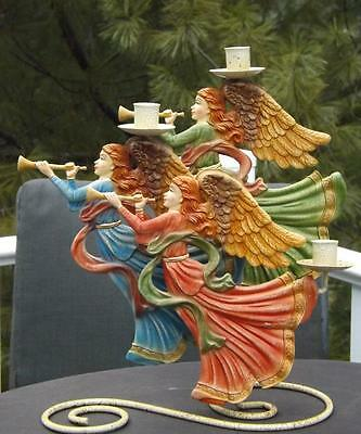 Herald Angels Christmas Angel Candle Holder Candelabra 3 Candles Smithsonian