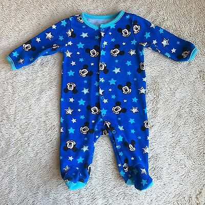 Disney Mickey Mouse 0-3 Months Blue One Piece Footed Pajamas