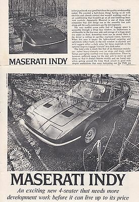 1971 Maserati Indy Sports Car, Detailed USA Car Magazine Road Test Report