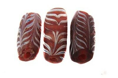 3 PCS old Venetian Antique Feather African Glass Trade beads