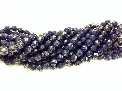 Fine 8mm Trade Czech Lapis Gold Colored fire Polished Glass beads