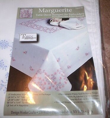 """Tobin Stamped Tablecloth MARGUERITE 58"""" x 104""""   Embroidery"""