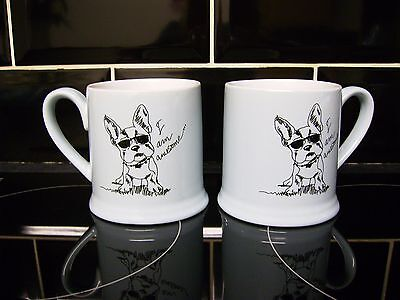 "Cute French Bulldog Mugs / Cups X2 - ""i Am Awesome"" ** New **"