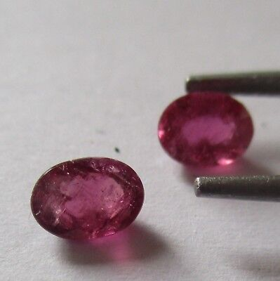 RUBELLITE TOURMALINE x MATCHING PAIR NATURAL UNTREATED TOTAL 1.25Ct  MF4519