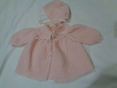 Vintage RENZO Baby Girl Sweater and Hat Pink Made in Italy