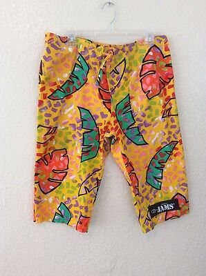 Vtg Original JAMS 80s Bright Colors Swimming Surf Board Shorts Men M
