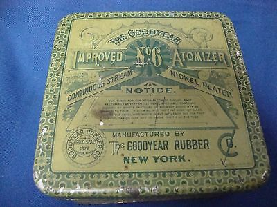 Antique Tin Can The Goodyear Rubber CO. Improved No. 6 Atomizer New York 1872
