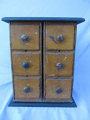 Vintage Antique 6 Drawer Small Cabinet Chest Sewing Machine Drawers