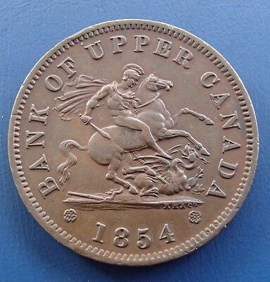 1854 Bank of Upper Canada one penny coin token - 763