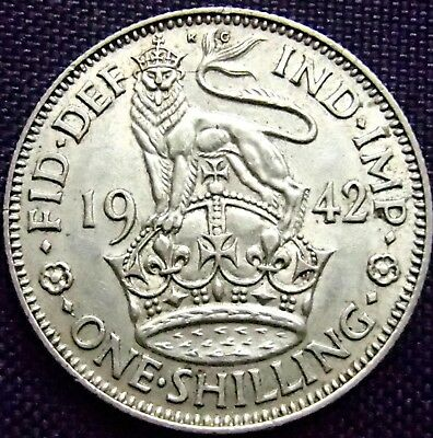 1942 English Silver One Shilling - 5.6 Grams Silver - About Uncirculated -154