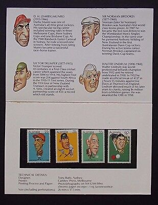 Post Office Pack 1981 AUSTRALIAN SPORTING PERSONALITIES - Contains 4 Mint Stamps
