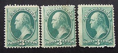 1870 George Washington Green 3 Cent Stamp x 3 - 258a