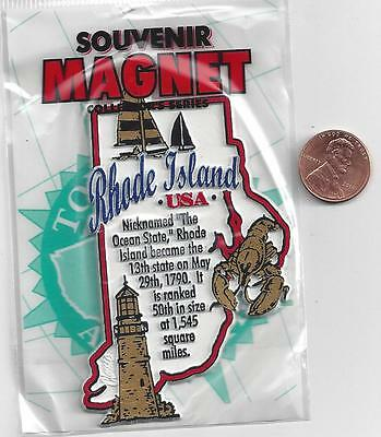 RHODE ISLAND STATE INFORMATION MAGNET in SOUVENIR BAG    EDUCATIONAL  5-COLOR