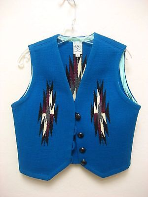 Ortega's 100% all wool handwoven indian blanket chimayo, new mexico vest