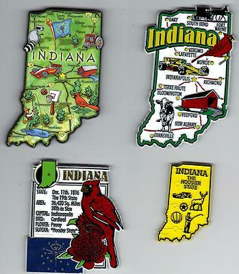 INDIANA IN MAGNET ASSORTMENT 4 NEW  STATE SOUVENIRS   including  ARTWOOD MAP