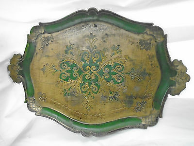 Vintage Italian Florentine Decorator Tray /made In Italy Stamped~Emerald Green