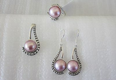 Pink Mabe Pearl Ring, Pendant and Earring Set, Sterling Silver, Ring sz 9